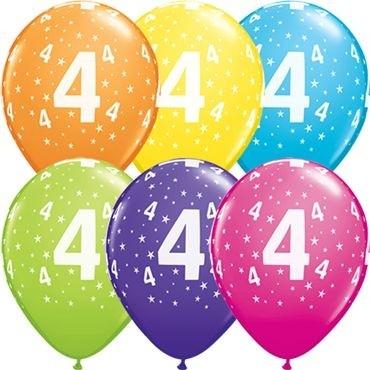 "Qualatex Latexballon Stars 4-A-Round Tropical Assortment 28cm/11"" 25 Stück"