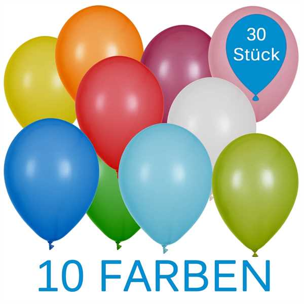 Bunte Latex Luftballons 25cm Ø 30 Stück
