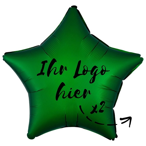 """Folien-Werbeballon Stern Satin Luxe Emerald 50cm/20"""" 2-Seitig bedruckt"""