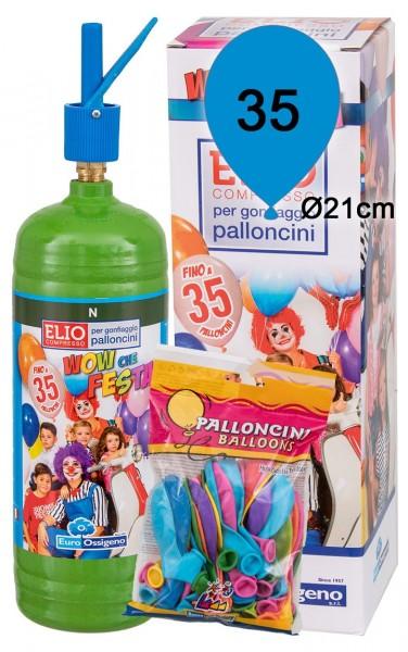 Helium Ballongas Set: Helium & 35 Bunte Latexballons (Ø 21cm)