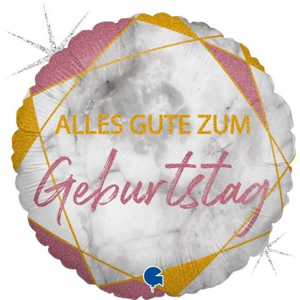 "Grabo Folienballon Marble Mate Geburtstag Rose Gold Rund 46cm/18"""