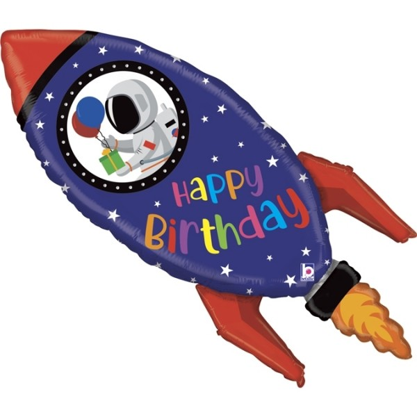 "Betallic Folienballon Birthday Rocket 102cm/40"""