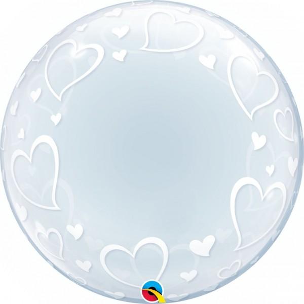 """Qualatex Bubbles Deco Bubble Stylish Hearts 60cm/24"""""""