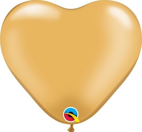 "Qualatex Latexballon Metallic Gold Heart 15cm/6"" 100 Stück"