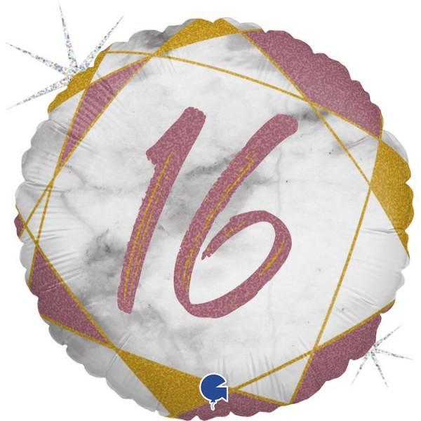"Grabo Folienballon Marble Mate Zahl 16 Rund 45cm/18"""