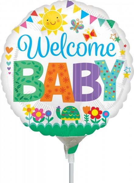 "Anagram Folienballon Welcome Baby Cute Icons 23cm/9"" luftgefüllt inkl. Stab"