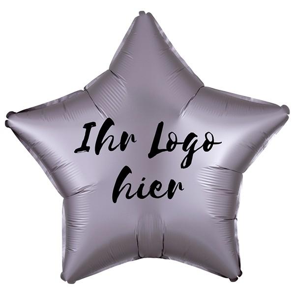 "Folien-Werbeballon Stern Satin Luxe Greige 50cm/20"" 1-Seitig bedruckt"