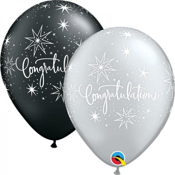 "Qualatex Latexballon Congratulations Elegant Silver & Onyx Black 28cm/11"" 25 Stück"