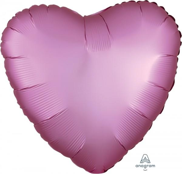 "Anagram Folienballon Herz Satin Luxe Flamingo 45cm/18"""