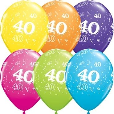 "Qualatex Latexballon Age 40 Tropical Sortiment 28cm/11"" 50 Stück"