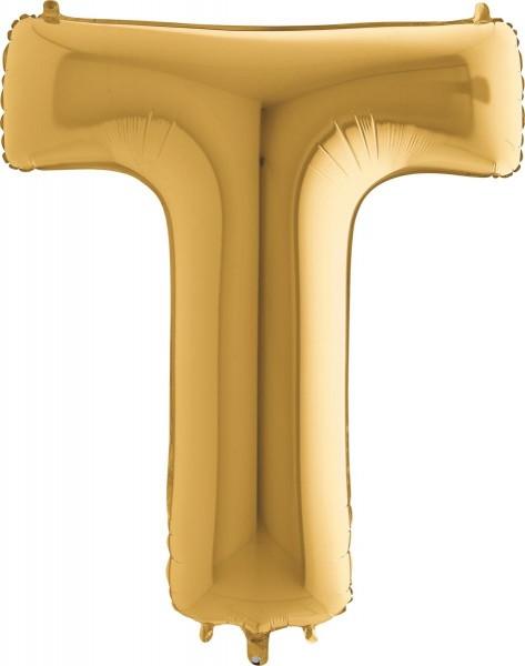 "Grabo Folienballon Buchstabe T Gold 100cm/40"""