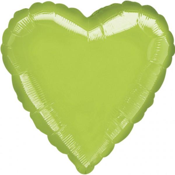 "Anagram Folienballon Herz Metallic Limongrün (Lime Green) 45cm/18"""