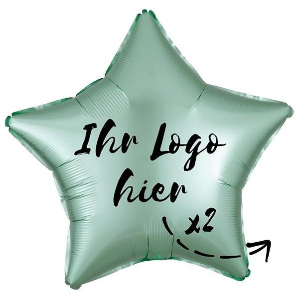 """Folien-Werbeballon Stern Satin Luxe Mint Green 50cm/20"""" 2-Seitig bedruckt"""