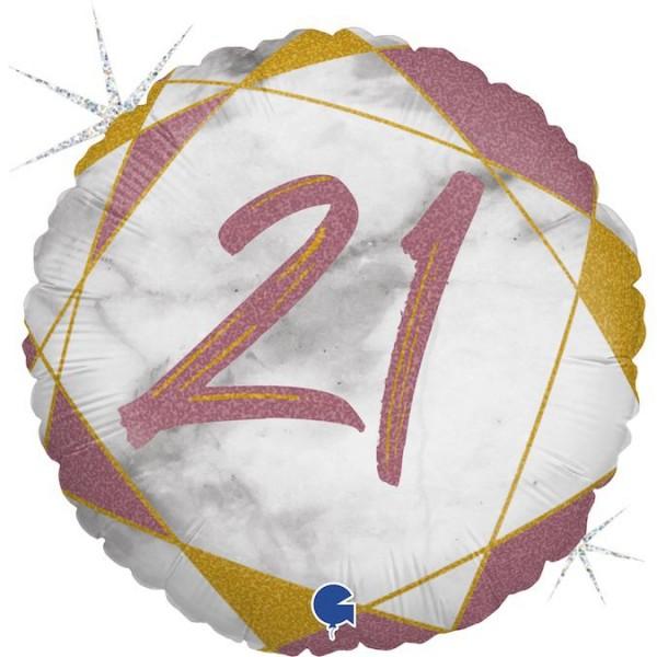"Grabo Folienballon Marble Mate Zahl 21 Rund 46cm/18"""
