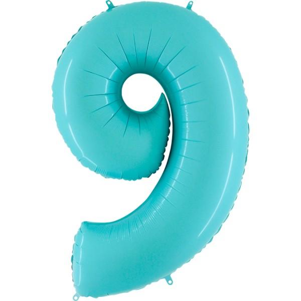 "Grabo Folienballon Zahl 9 Pastel Blue 100cm/40"""