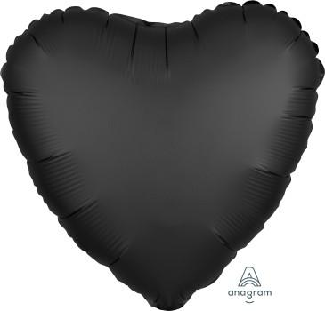 Anagram Folienballon Herz 45cm Durchmesser Satin Schwarz (Onyx)