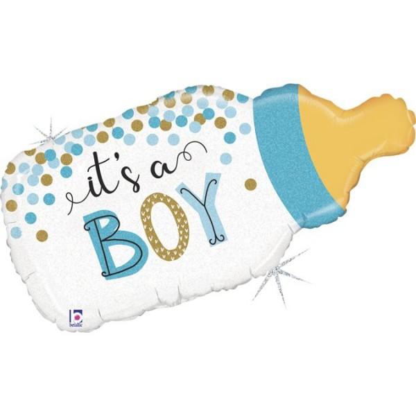 "Betallic Folienballon Confetti Baby Bottle Boy Glitter Holographic 84cm/33"""