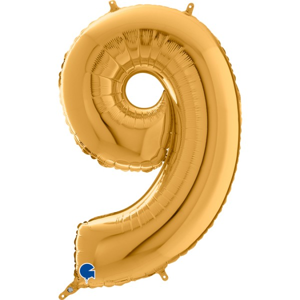 "Grabo Folienballon Zahl 9 Gold 66cm/26"""