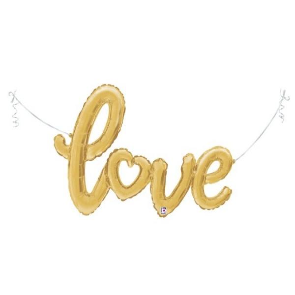 """Betallic Folienballon love-Schriftzug Gold 119cm/47"""""""