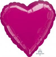 "Anagram Folienballon Herz Metallic Fuchsia 45cm/18"""