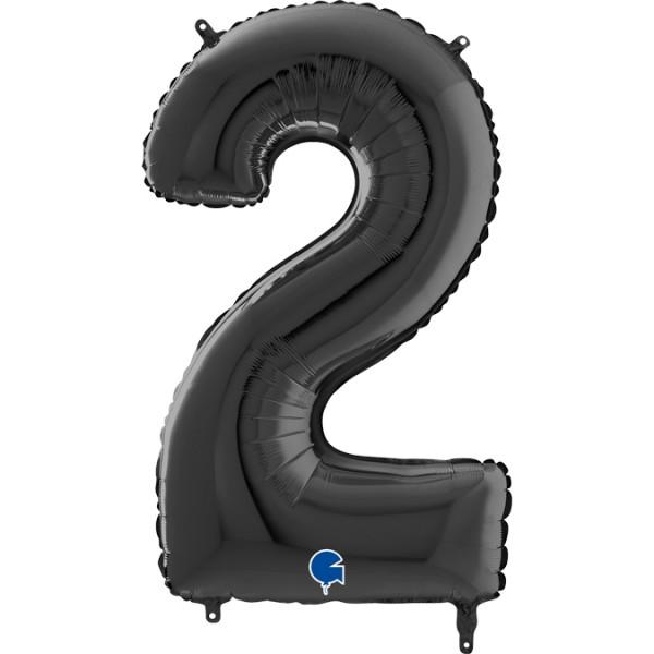 "Grabo Folienballon Zahl 2 Black 66cm/26"""