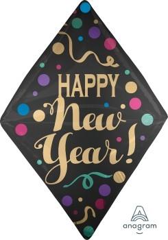 "Anagram Folienballon Anglez 40cm Durchmesser ""Happy New Year!"" Satinpunkte (Satin Dots)"