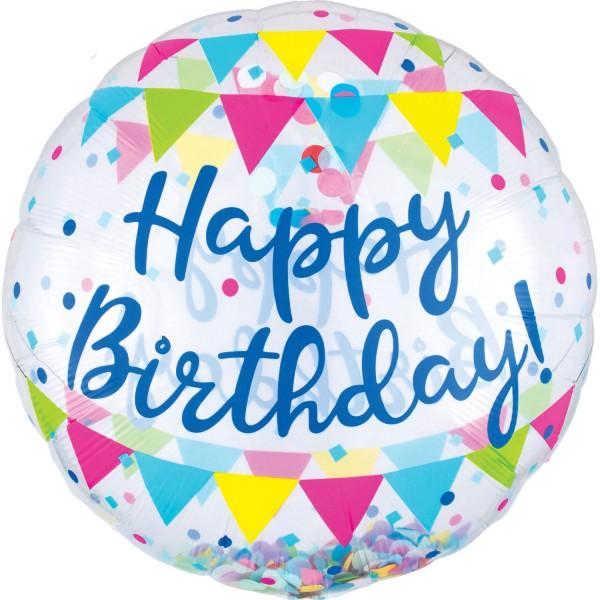 "Anagram Folienballon Rund ""Happy Birthday"" Confetti Streamer Fun 70cm/27"""