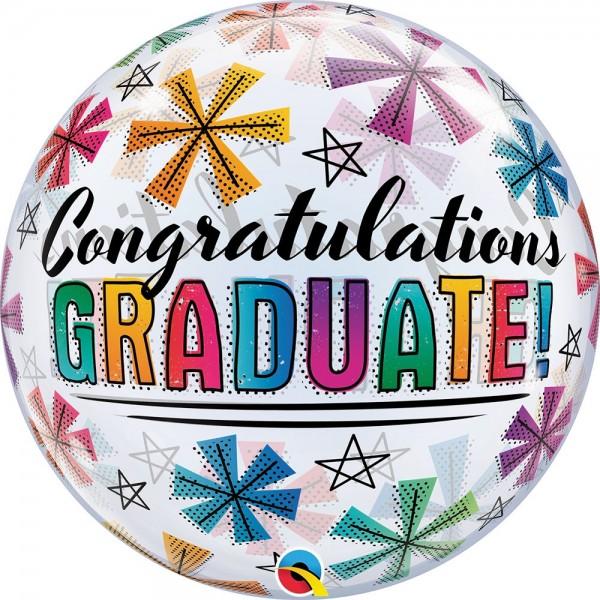 """Qualatex Bubbles Congratulations Graduate & Stars 55cm/22"""""""