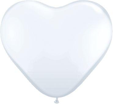 "Qualatex Latexballon Standard White Heart 38cm/15"" 50 Stück"