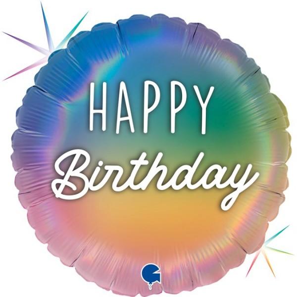 "Grabo Folienballon 45cm/18"" Happy Birthday Regenbogen Holographic"