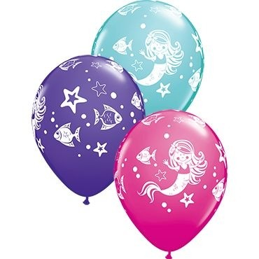 "Qualatex Latexballon Merry Mermaid & Friends Assorted 28cm/11"" 25 Stück"