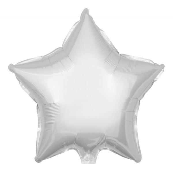 Folienballon Stern, Metallic Weiß, 50cm Ø