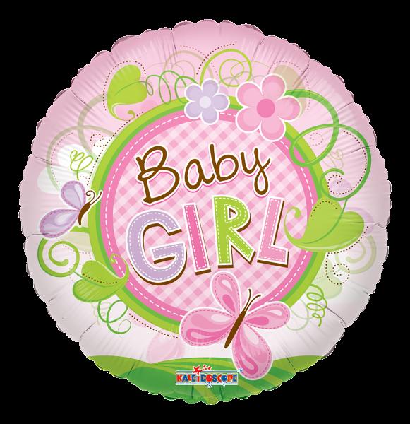 "Kaleidoscope Folienballon ""Baby Girl - Rosa Schmetterling"" 45cm/18"""
