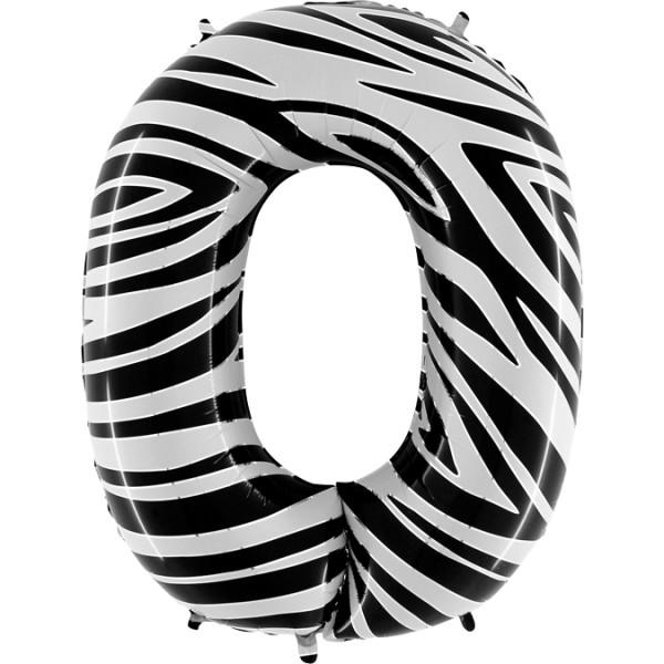 """Grabo Folienballon Zahl 0 Zebraloon 100cm/40"""""""