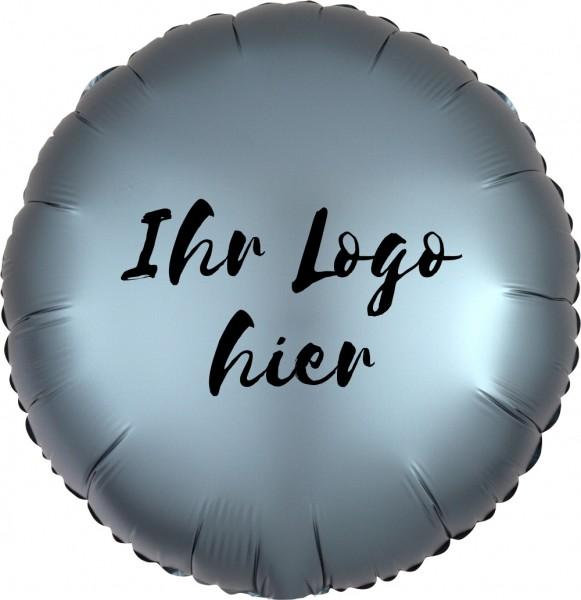 """Folien-Werbeballon Rund Satin Luxe Steel Blue 45cm/18"""" 1-Seitig bedruckt"""