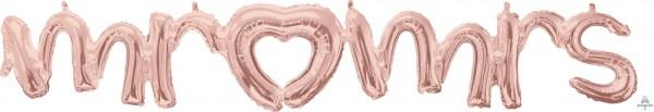 "Anagram Folienballon 150cm Breit/25cm (59""/10"") Hoch SuperShape Mr. & Mrs. Schrift Girlande Rose Gold"