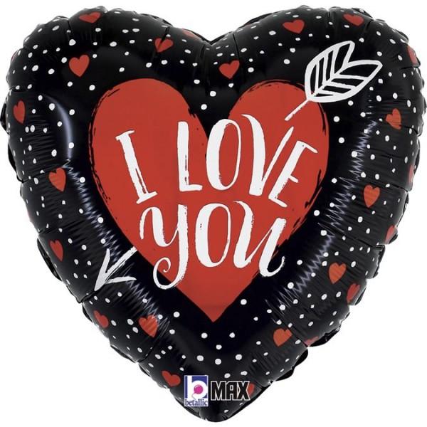 "Betallic Folienballon I Love You Heart Arrow 45cm/18"""