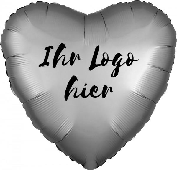 "Folien-Werbeballon Herz Satin Luxe Platinum 45cm/18"" 1-Seitig bedruckt"