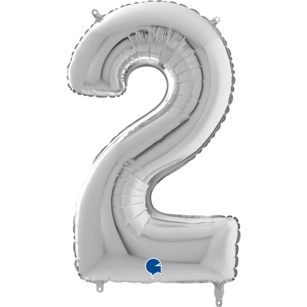"""Grabo Folienballon Zahl 2 Silver 66cm/26"""""""
