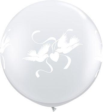 Qualatex Latexballon Love Doves Diamond Clear 90cm/3' 2 Stück