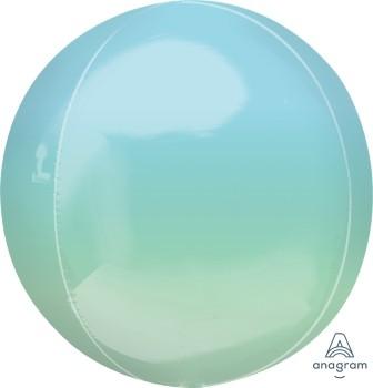 Anagram Folienballon Orbz 40cm Durchmesser Ombré Blau & Grün (Blue & Green)