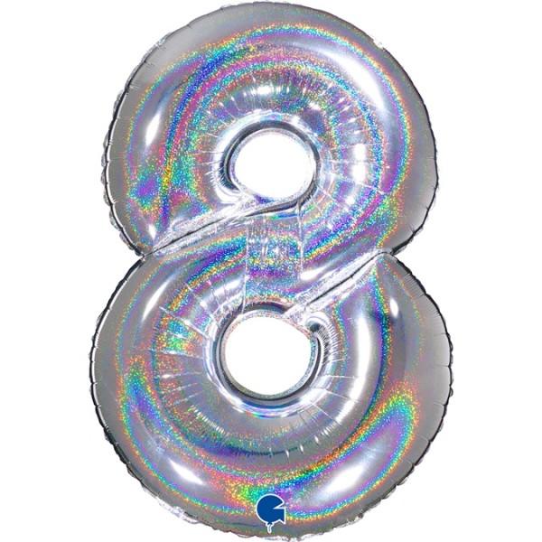 """Grabo Folienballon Zahl 8 Glitter Holographic Silver 100cm/40"""""""