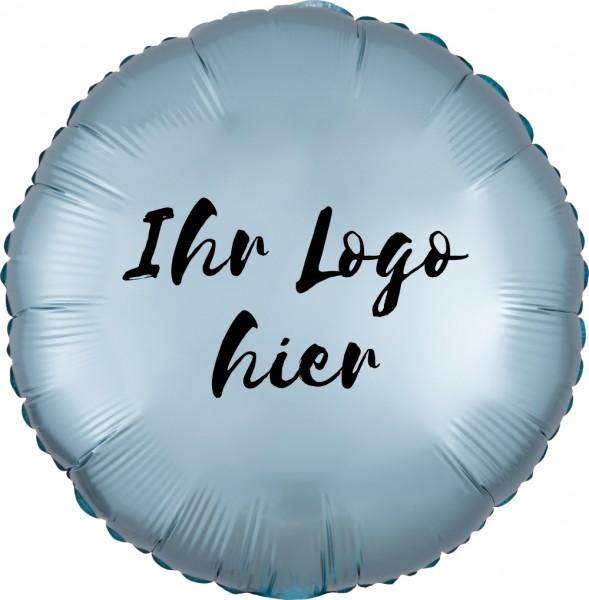 """Folien-Werbeballon Rund Satin Luxe Pastel Blue 45cm/18"""" 1-Seitig bedruckt"""
