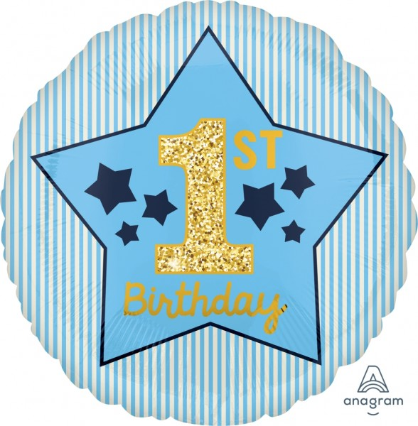 "Anagram Folienballon Rund Boy ""1St. Birthday"" Blue & Gold 45cm/18"""