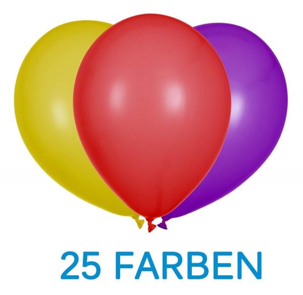 """Bunte Latexballons 30cm/12"""" 100 Stück 25 Farben"""