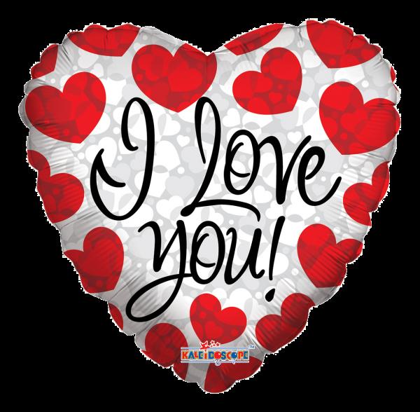 """Kaleidoscope Folienballon Herz """"I Love You - Rote Herzen"""" 45cm/18"""""""
