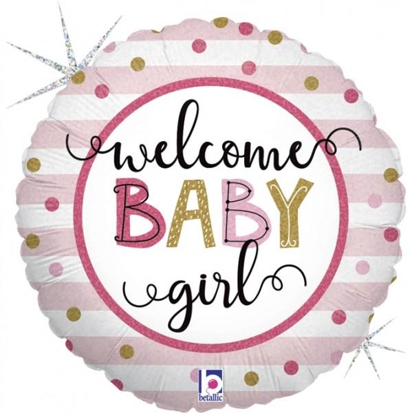 "Betallic Folienballon Baby Girl Stipes 45cm/18"""