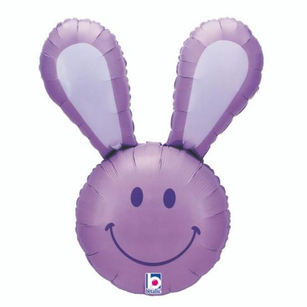 """Betallic Folienballon Smiley Bunny Lavender 94cm/37"""""""
