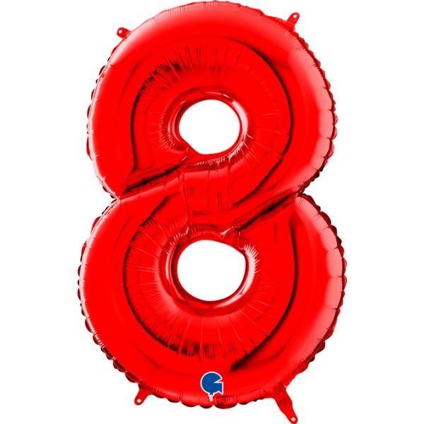 "Grabo Folienballon Zahl 8 Red 66cm/26"""