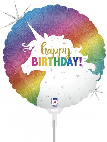 "Betallic Folienballon Glitter Unicorn Birthday Holographic 23cm/9"" luftgefüllt inkl. Stab"